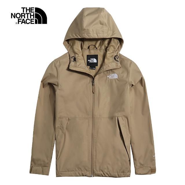 【The North Face】The North Face北面男款棕色防水透氣戶外休閒連帽衝鋒衣|4UDNPLX