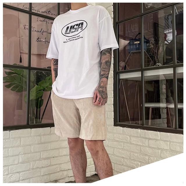 【Dition】薄款絨布oversize膝上短褲 超彈力 居家 休閒 情侶裝 男女可穿(機能抽繩 彈力舒適)