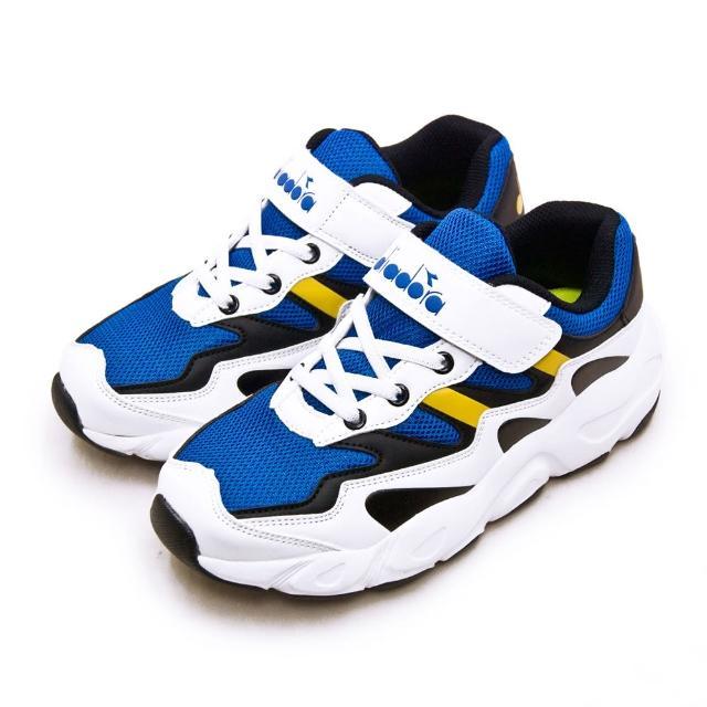 【DIADORA】大童 迪亞多那 22cm-24.5cm 輕量超寬楦避震慢跑鞋 復古老爹鞋系列(藍白黑 11029)
