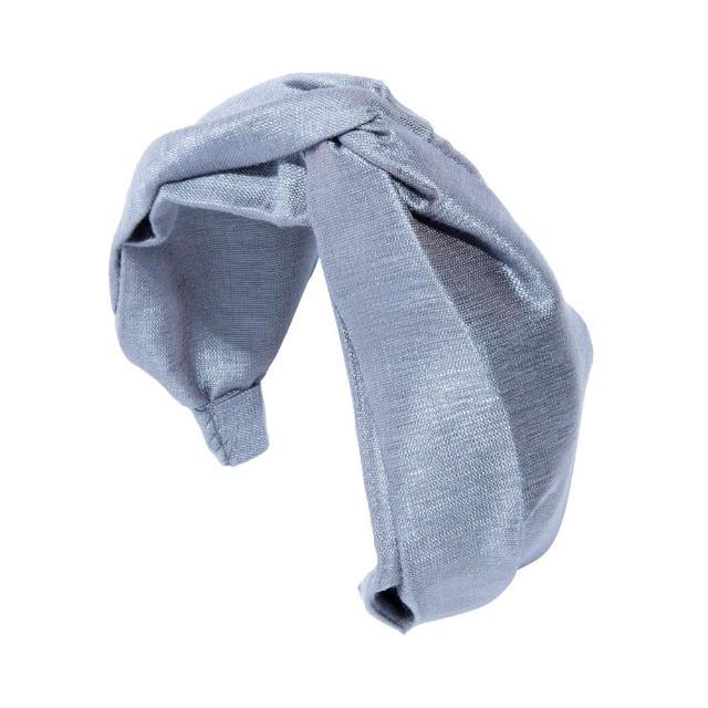 【L. ERICKSON】L. ERICKSON 真絲亞麻交叉髮箍〈灰藍色〉