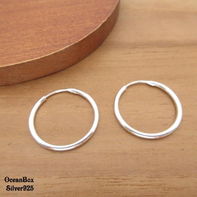 【海洋盒子】1.5mm寬.2cm亮面中型圈圈925純銀針式耳環(925純銀圈圈耳環)
