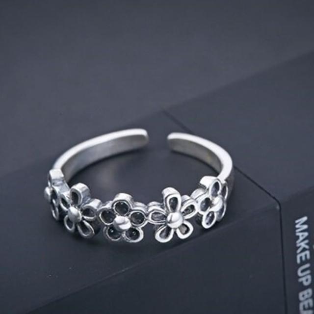 【米蘭精品】925純銀戒指銀飾(簡約復古梅花設計情人節生日禮物女飾品73dx37)