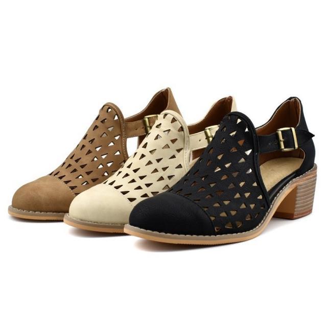 【Sp house】幾何三角鏤空麂皮粗跟休閒涼鞋(3色可選)