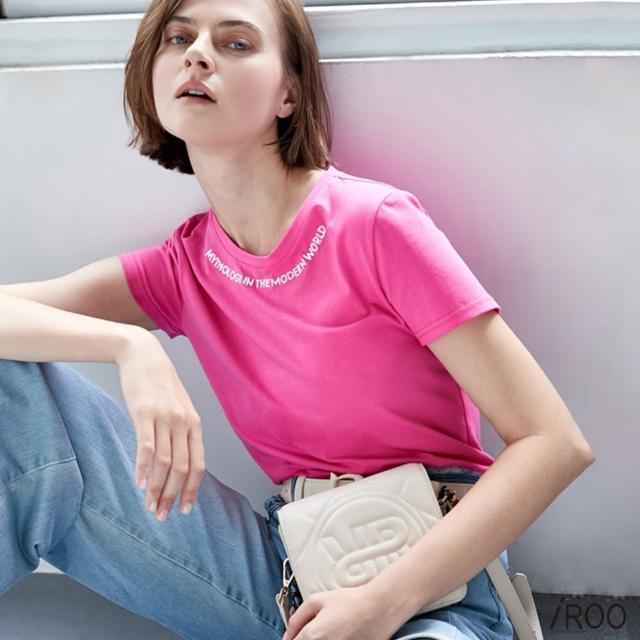 【iROO】圓領 短袖 繡花 T恤