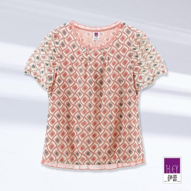 【ILEY 伊蕾】輕甜幾何造型抽褶袖蕾絲上衣1212251807(粉)