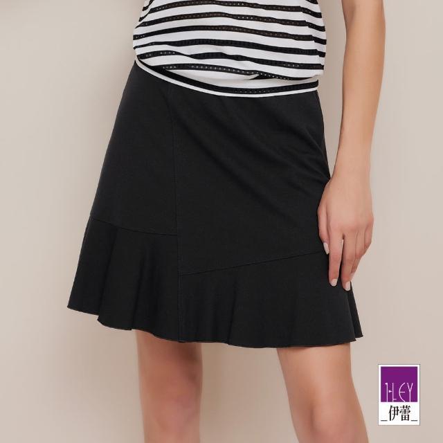 【ILEY 伊蕾】不規則多片剪裁垂墜魚尾短裙1212012080(黑)