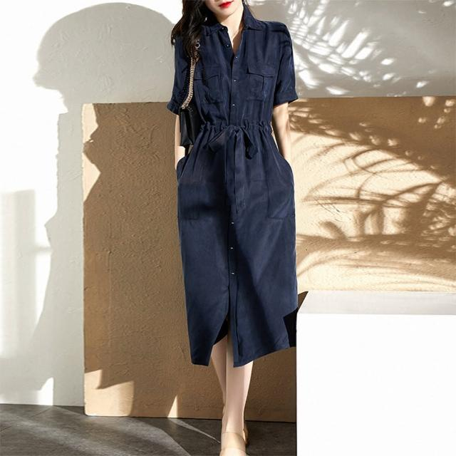 【Pure 衣櫃】法式輕熟女工裝率性顯瘦連衣裙洋裝(簡約/氣質/百搭/KDD-1284)
