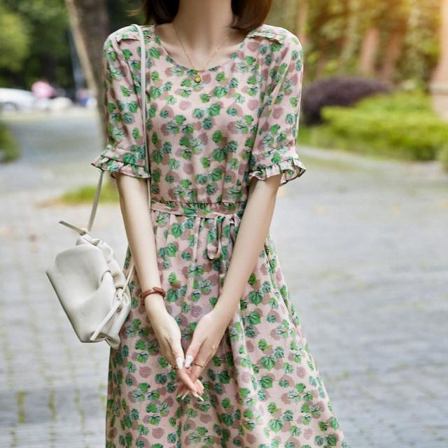 【Pure 衣櫃】氣質淑女碎花落葉圖樣收腰顯瘦洋裝(簡約/氣質/百搭/KDD-3792)