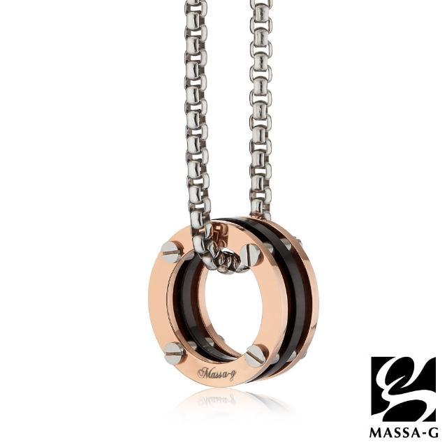 【MASSA-G】秘密純鈦墬搭配方形3顆金屬鍺錠白鋼項鍊(3MM)