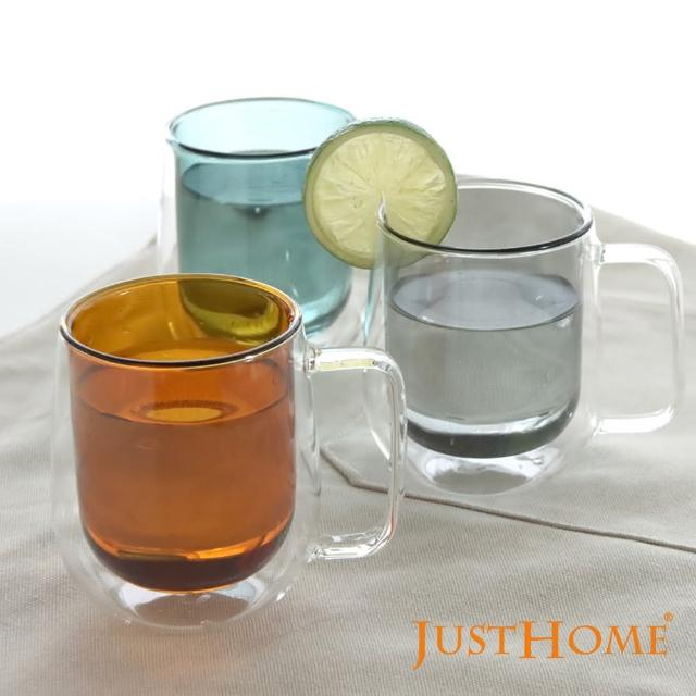 【Just Home】Just Home清透雙層耐熱玻璃杯250ml/2入組-有把手(玻璃杯、耐熱玻璃)