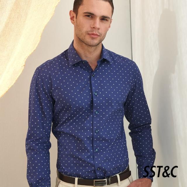 【SST&C】深藍底小動物印花經典款長袖襯衫0312105009