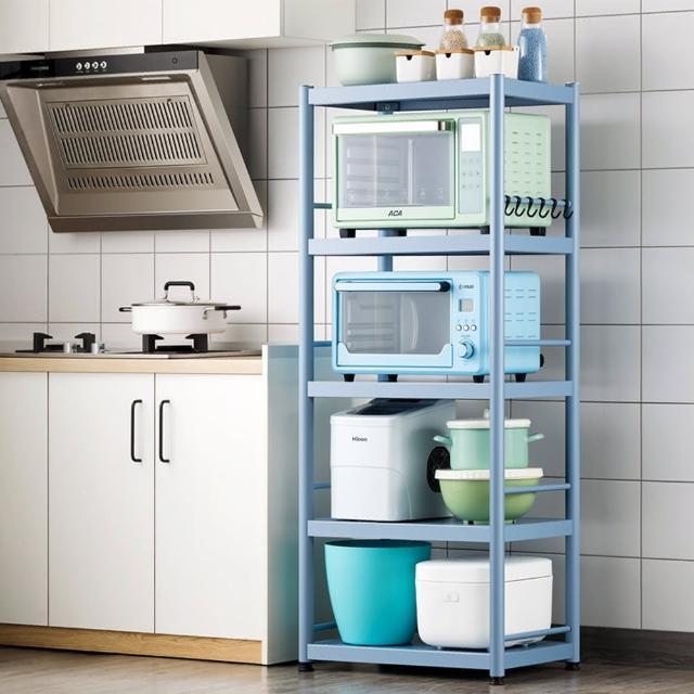 【HappyLife】藍色烤漆不鏽鋼電器架 五層60公分 Y10258(落地置物架 家電收納架 微波爐烤箱氣炸鍋架)
