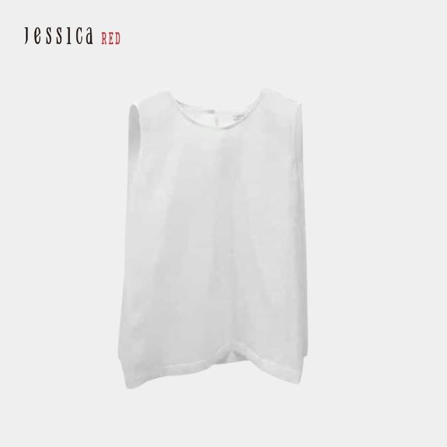 【Jessica Red】素面簡約百搭圓領無袖上衣(白色)