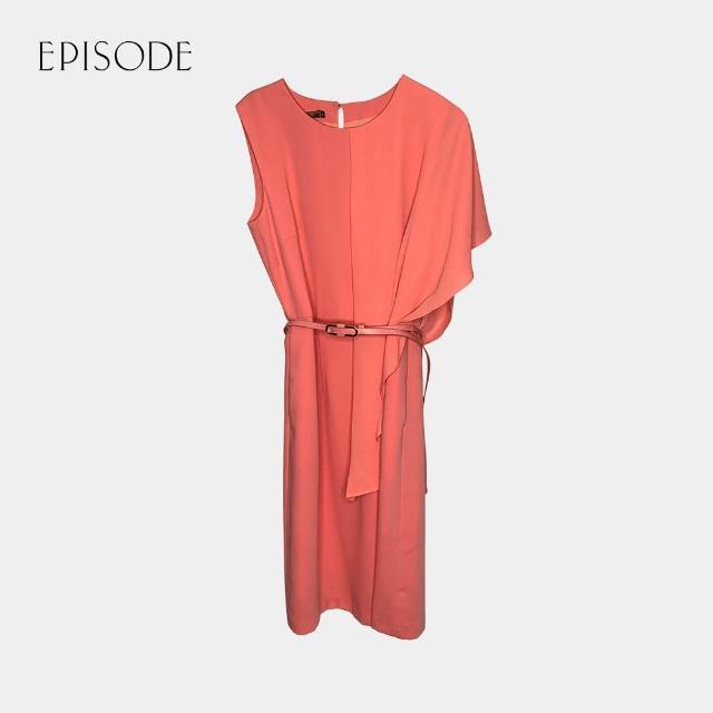 【EPISODE】氣質圓領不對稱袖口雪紡洋裝(珊瑚橘)