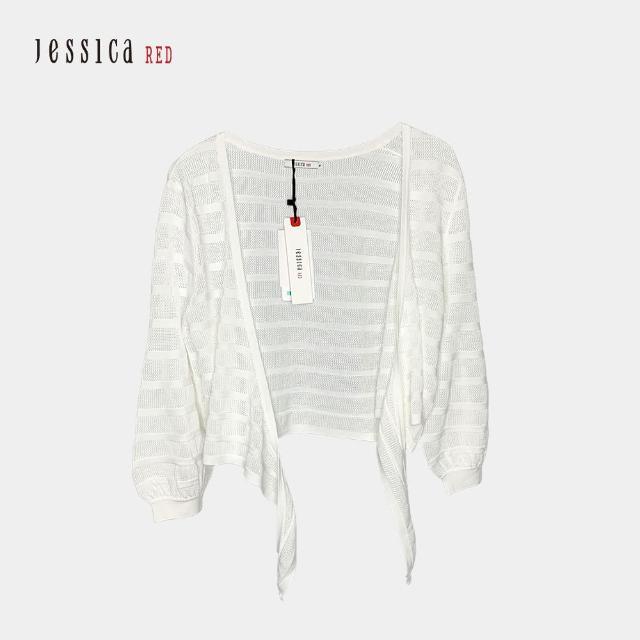 【Jessica Red】百搭綁帶七分袖針織開衫(白)