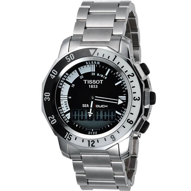 【TISSOT 天梭】SEA-TOUCH 觸控多功能潛水錶-黑(T0264201105100)