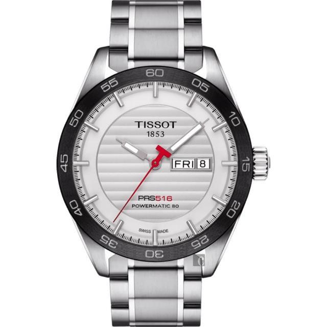 【TISSOT 天梭】PRS516 賽車動力儲存80機械錶-銀x黑圈/42mm(T1004301103100)