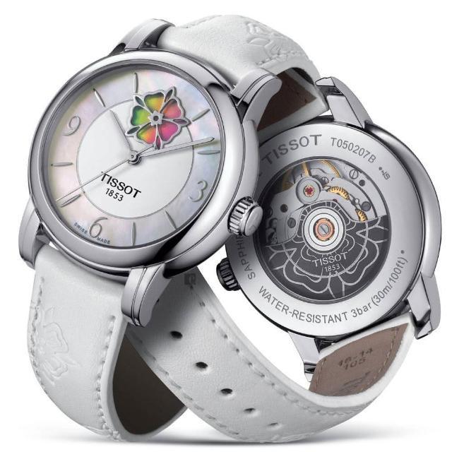 【TISSOT 天梭】Lady Heart 花朵鏤空機械女錶-珍珠貝x白/36mm(T0502071711705)