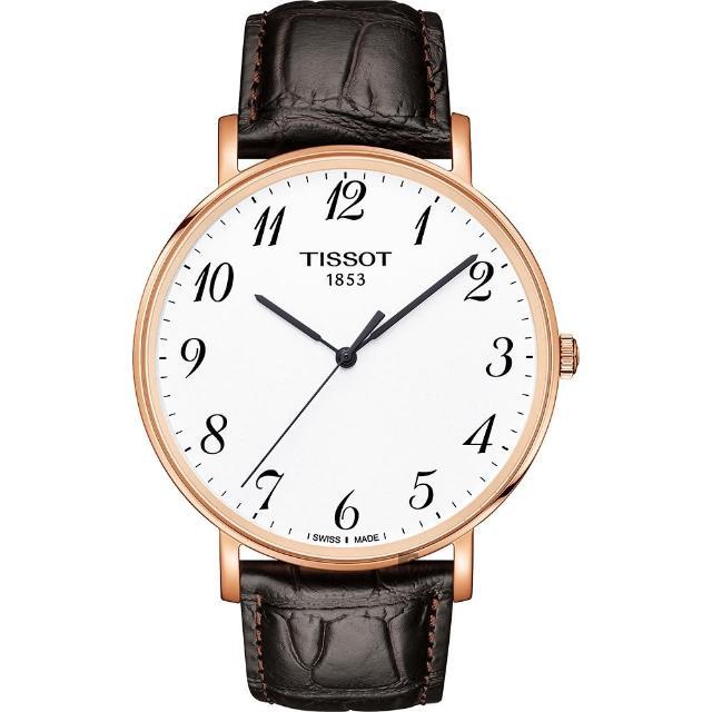 【TISSOT 天梭】Everytime 經典雋永石英手錶-銀x玫塊金框/42mm(T1096103603200)