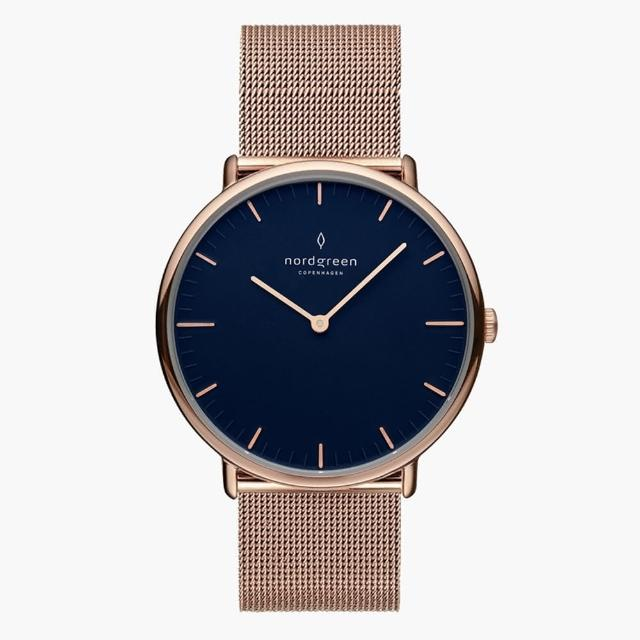 【Nordgreen】Native北歐藍錶盤 - 玫瑰金網格鈦鋼36MM(NR36RGMERONA)