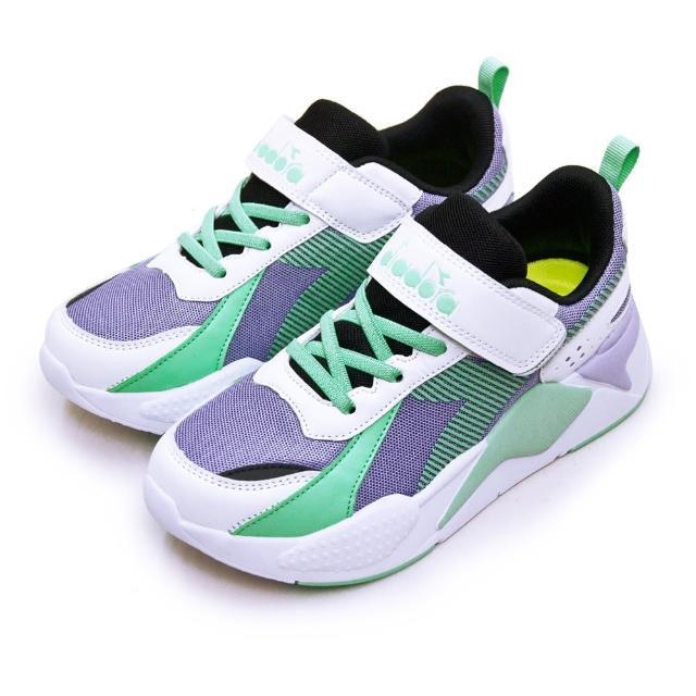 【DIADORA】大童 迪亞多那 22cm-24.5cm 輕量超寬楦避震慢跑鞋 科技老爹鞋系列(紫綠白 11022)