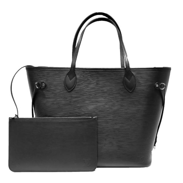 【Louis Vuitton 路易威登】M40932 經典NEVERFULL系列水波紋肩背包/購物包(黑色)