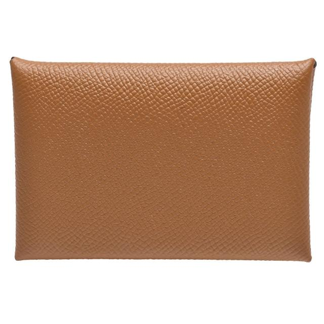 【Hermes 愛馬仕】經典EPSOM牛皮折疊暗釦名片/零錢包(褐金色H083035CK-GOLD)