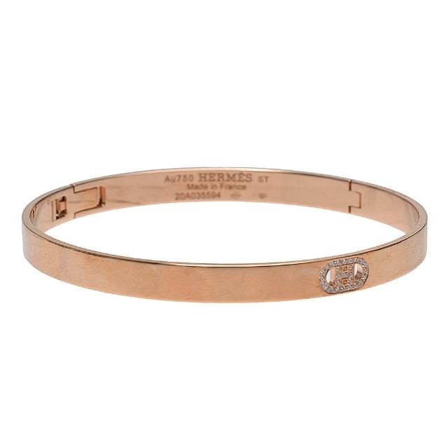 【Hermes 愛馬仕】經典鑽石鑲嵌H LOGO細版手環(玫瑰金HXD9883-ROSE)