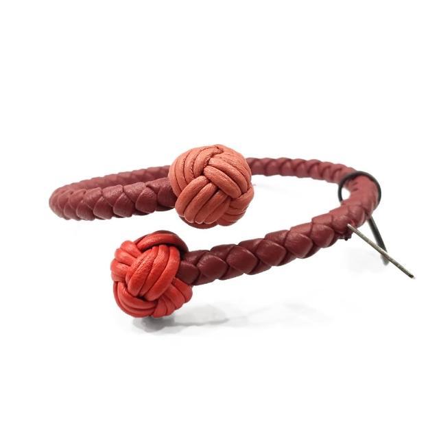 【BOTTEGA VENETA 寶緹嘉】497713 羊皮編織 三色手環(紅色-M號)