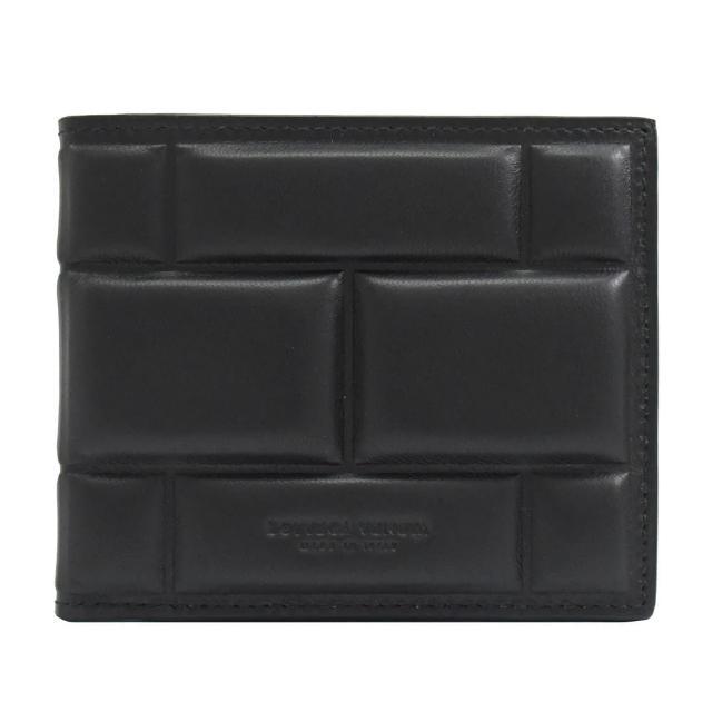 【BOTTEGA VENETA 寶緹嘉】磚塊造型壓紋小羊皮雙折8卡短夾(黑)