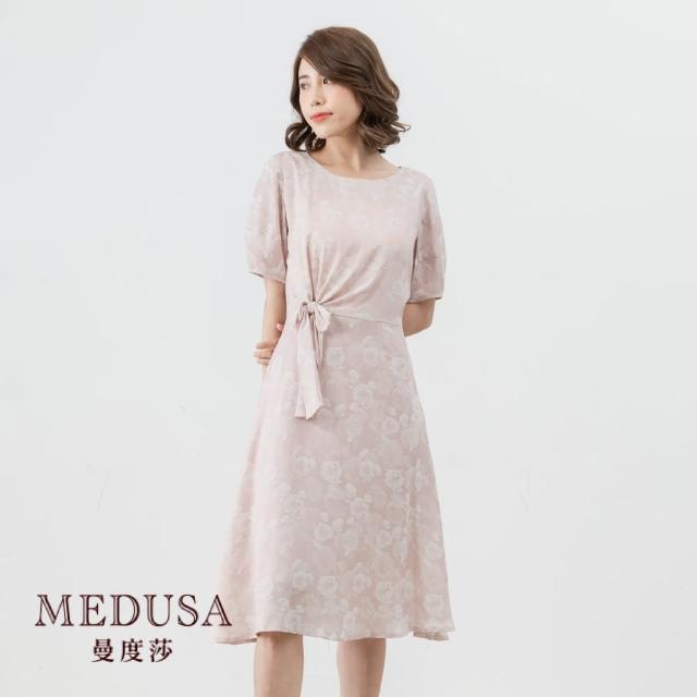 【MEDUSA 曼度莎】側綁結優雅玫瑰緹花洋裝(M-XL)|正式洋裝 禮服|上班穿搭 職場穿搭(601-37406)
