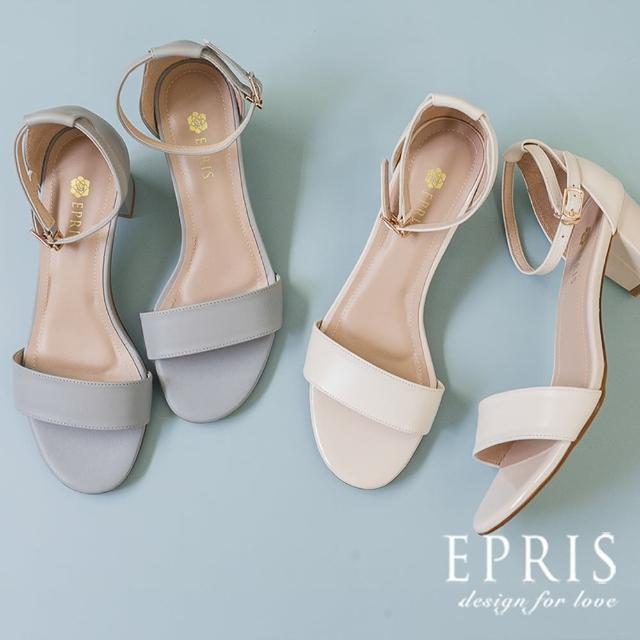 【EPRIS 艾佩絲】現貨 隨性自然輕鬆百搭 細踝寬帶中跟涼鞋 莫蘭迪真皮腳墊涼拖鞋 34-39(一字帶粗跟涼鞋)