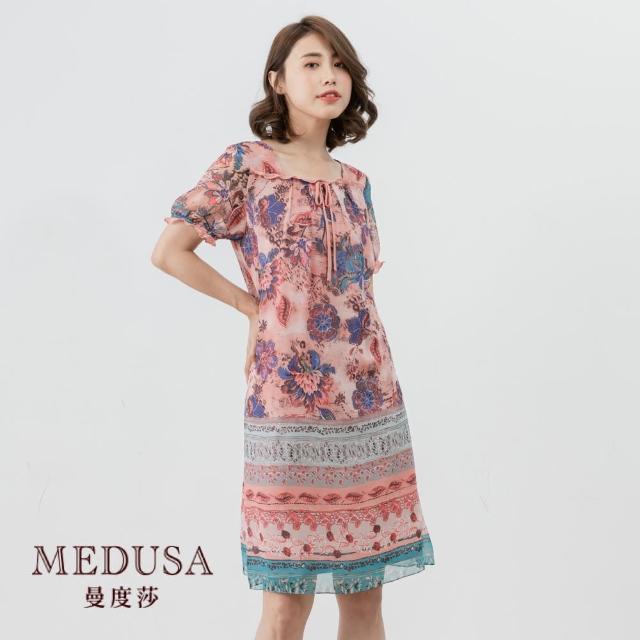 【MEDUSA 曼度莎】粉嫩荷葉捲邊方領碎花小洋裝(M-XL)|休閒洋裝|上班穿搭 職場穿搭(601-34006)