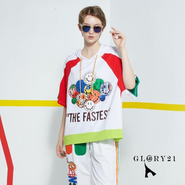 【GLORY21】新品-SMILE連帽T恤上衣(白色)