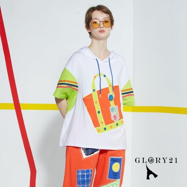 【GLORY21】新品-寬鬆連帽T恤上衣(白色)