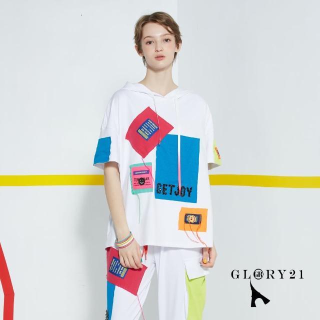 【GLORY21】新品-拼貼感連帽T恤上衣(白色)