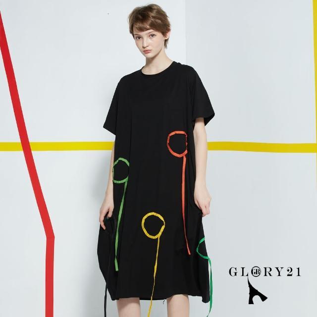 【GLORY21】新品-圓圈織帶長版洋裝(黑色)
