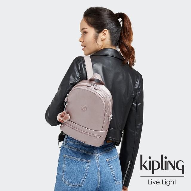 【KIPLING】淡雅金屬榛果色兩用後背包-IVES S