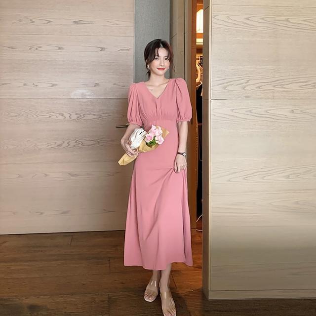 【女神婚紗禮服店】簡約豆沙色V領短袖長洋裝 提貨券(豆沙色洋裝 簡約風)