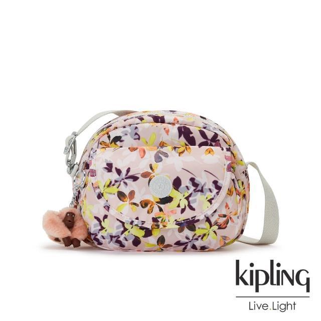 【KIPLING】飄零落花粉翻蓋側背小包-STELMA