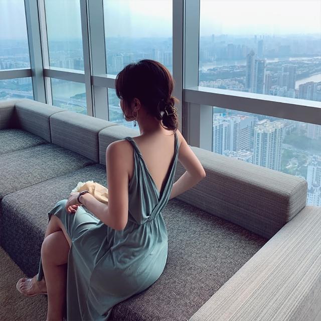 【女神婚紗禮服店】薄荷色極致深V無袖吊帶洋裝 提貨券(薄荷色洋裝 性感深V領)
