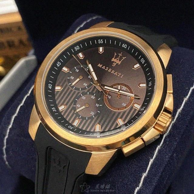 【MASERATI 瑪莎拉蒂】瑪莎拉蒂男女通用錶型號R8851123008(古銅色錶面玫瑰金錶殼深黑色矽膠錶帶款)