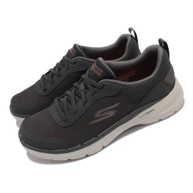 【SKECHERS】慢跑鞋 Go Walk 6 運動休閒 男鞋 機能 健走鞋 輕量 支撐 避震 基本款 灰(216204-CHAR)