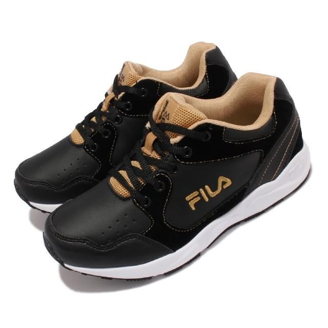 【FILA】慢跑鞋 J814V 路跑 休閒鞋 童鞋 女鞋 斐樂 魔鬼氈 基本款 緩震 輕量 中大童 黑 金(3J814V009)