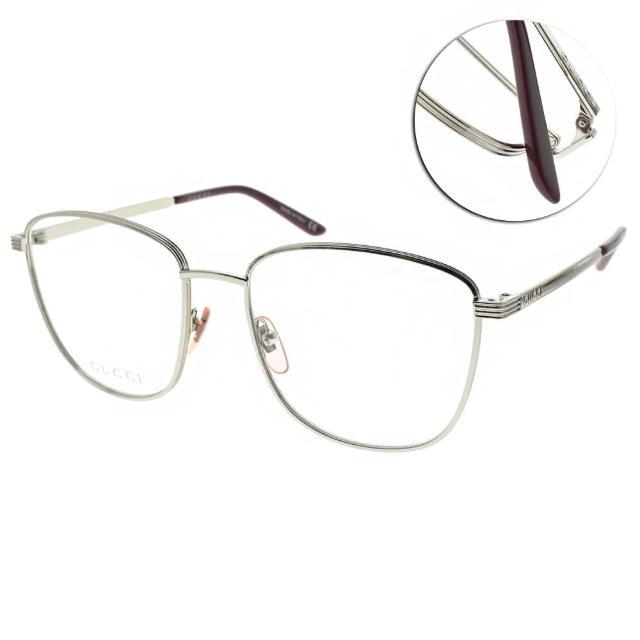 【GUCCI 古馳】光學眼鏡 時尚方框款(銀#GG0804O 002)