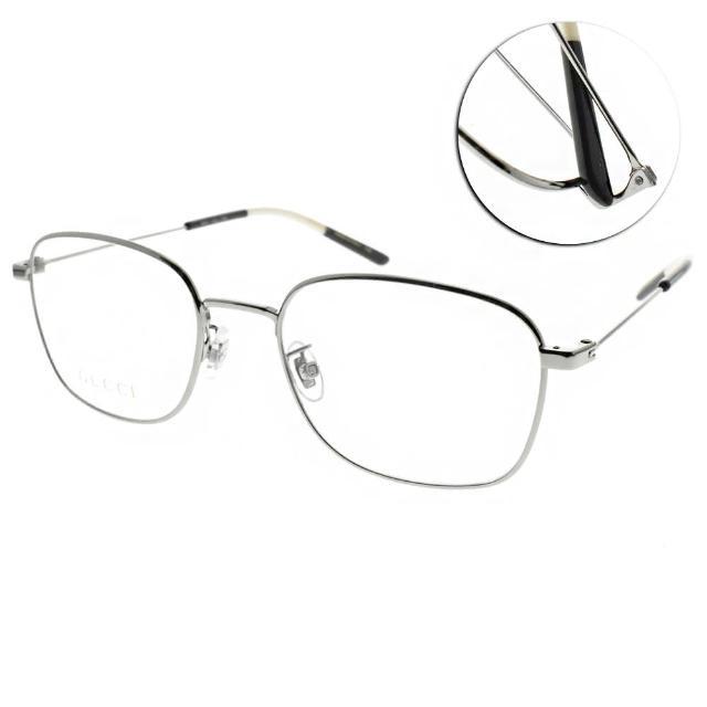 【GUCCI 古馳】光學眼鏡 時尚方框款(槍銀-白黑#GG0685OA 002)
