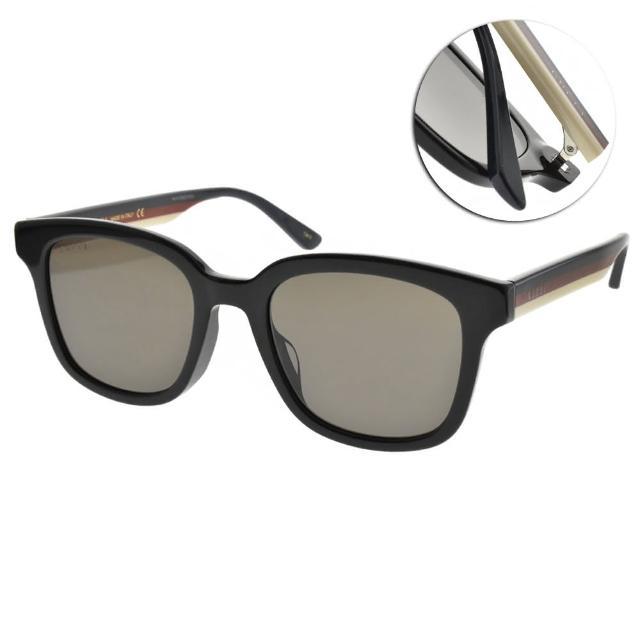 【GUCCI 古馳】太陽眼鏡 雙色鏡腳方框款(黑-灰鏡片 #GG0847SK 002)