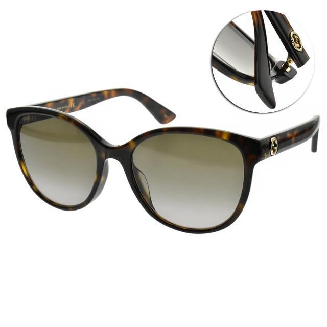 【GUCCI 古馳】太陽眼鏡 萬年不敗圓框款(深琥珀-漸層棕鏡片 #GG0703SK 001)