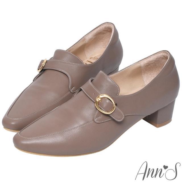 【Ann'S】手工製作頂級綿羊皮氣質金扣低跟踝靴4cm(咖)