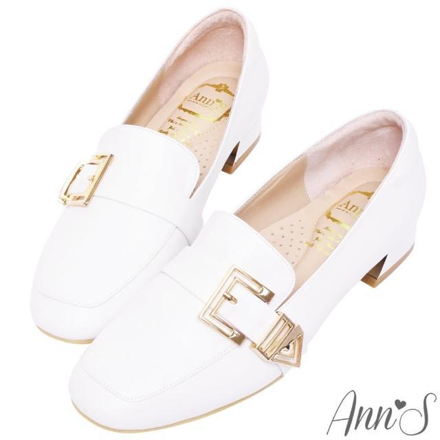 【Ann'S】鏤空造型金扣頂級綿羊皮平底紳士鞋3cm(白)